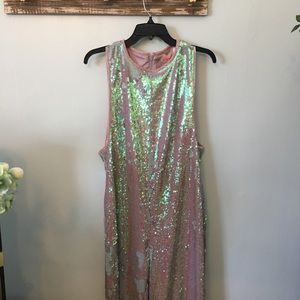 Free People Pants Starbright Sequin Jumpsuit Poshmark